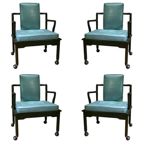 turquoise leather chair set of four turquoise leather club chairs by widdicomb at