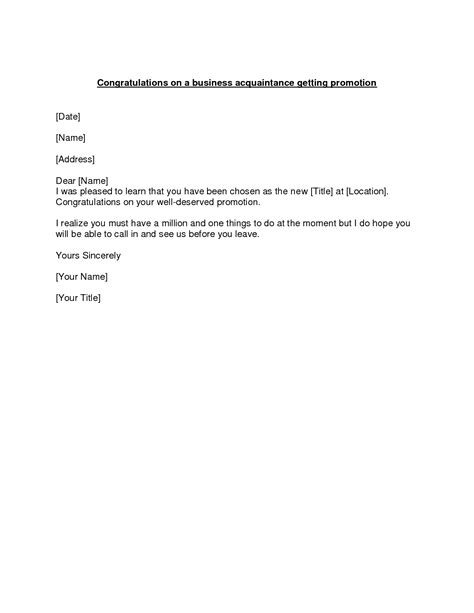 Promotion Letter Of Congratulations Promotion Congratulations Letter Exle Of A Congratulations Letter To Send To A Business