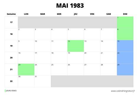 Calendrier De 1983 Calendrier De Mai 1983 224 Imprimer