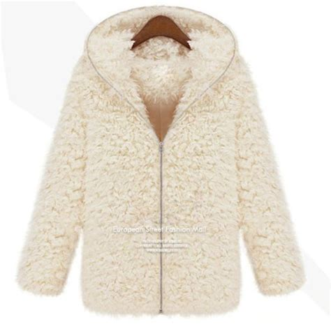 Jaket Hoodie Zipper White High Quality 7 Roffico Cloth 2017 fashion new winter fluffy shaggy coat faux fur