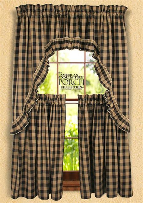 Black Teadyed Buffalo Check Ruffled Window Curtain Swags