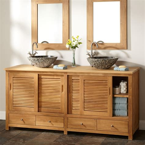 48 Bathroom Vanity With Offset Sink 72 Quot Arrey Teak Double Vessel Sink Vanity Natural Teak