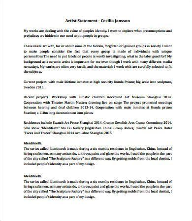 artist statement exles 8 free pdf documents download