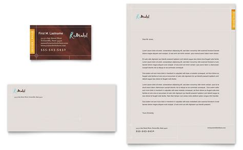 Business Card Letterhead Templates Free Home Remodeling Business Card Letterhead Template Word Publisher