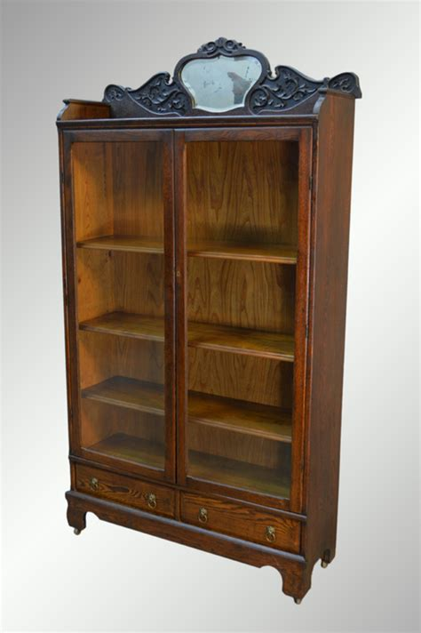 bookcase with mirror sold antique oak larkin bookcase with beveled mirror