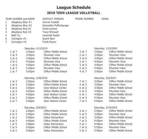 game schedules covington city