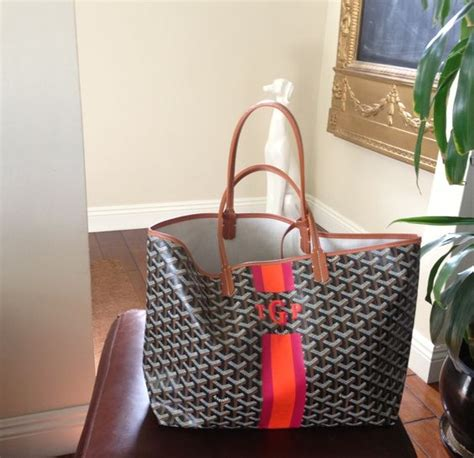 goyard tote bags personalized neutral layers behind monogram in bright colors diff