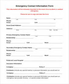 Emergency Information Template by Sle Emergency Contact Form 8 Exles In Pdf Word