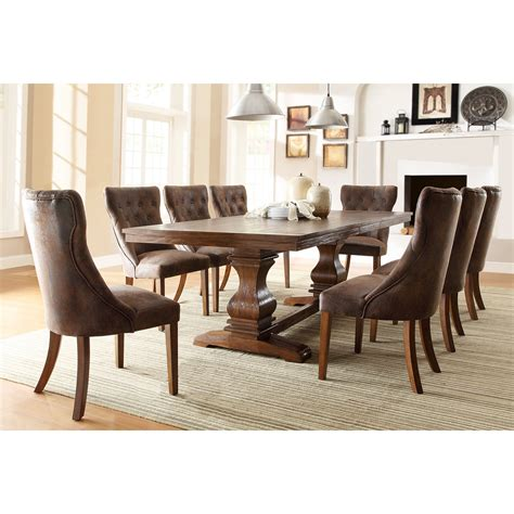 homelegance louise 9 expandable trestle dining table set weathered oak dining