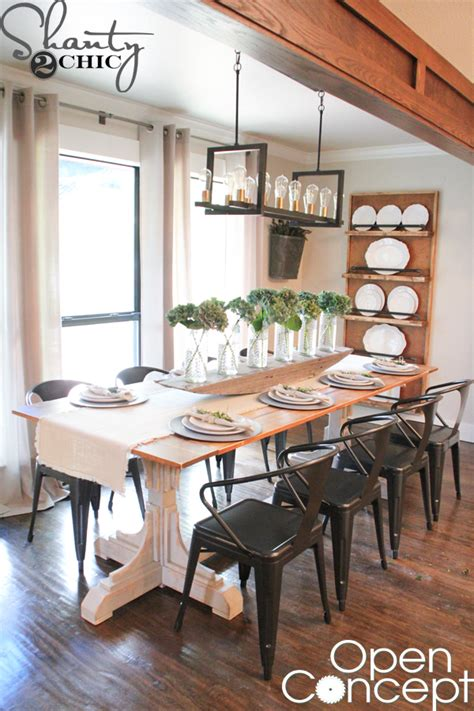 hgtv open concept dining table  plans shanty  chic