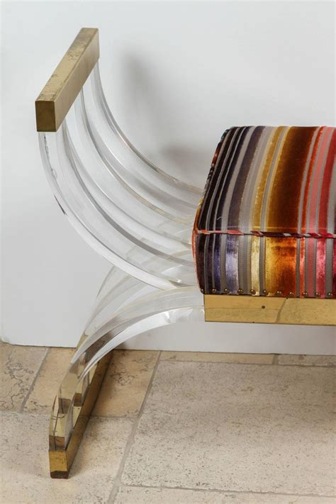 lucite x bench 1970s single lucite oversized x bench at 1stdibs
