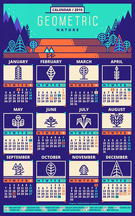 design calendar graphic calendar 2015 pattern on behance