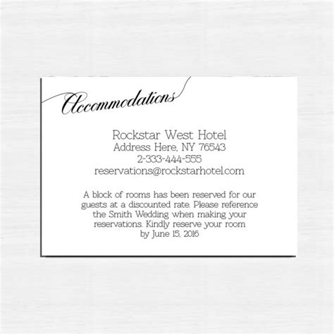 Free Accommodation Card Template by Insert Cards Choose The Card Accommodation Card Information