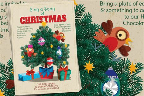 Christmas Carols Sing A Long Flyer Flyer Templates On Creative Market Caroling Flyer Template