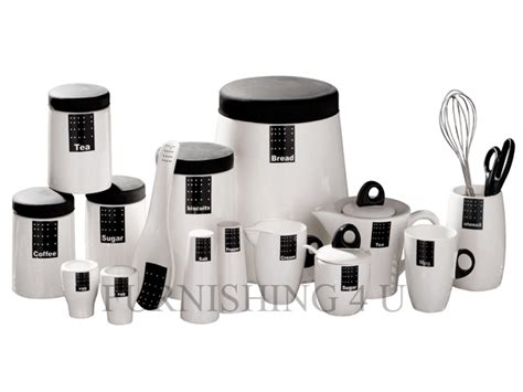 tag black white kitchen ceramic storage canisters jars set