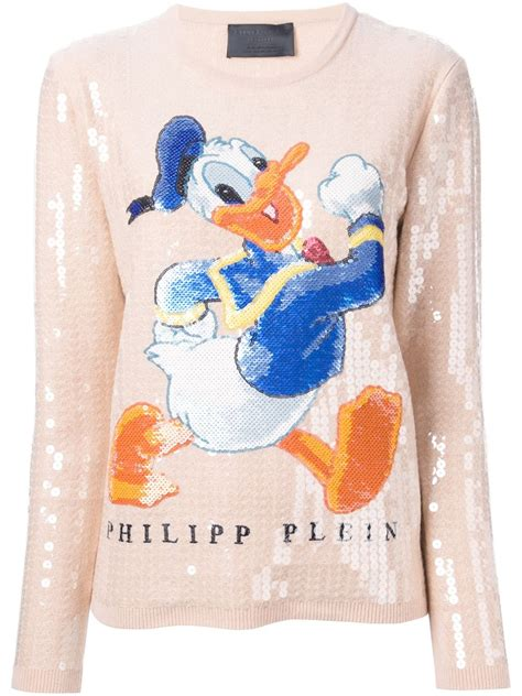 philipp plein donald duck sequinned sweater in pink lyst