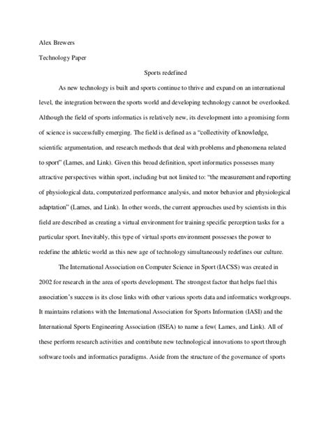 Essay About Sports by Sports Informatics Essay