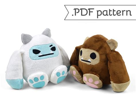 felt yeti pattern bigfoot yeti sasquatch monster plush pdf sewing pattern