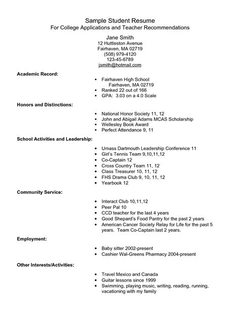 college resume format for high school students exle resume for high school students for college