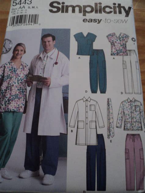 lab jacket pattern sewing pattern simplicity 5443 medical scrubs lab coat top