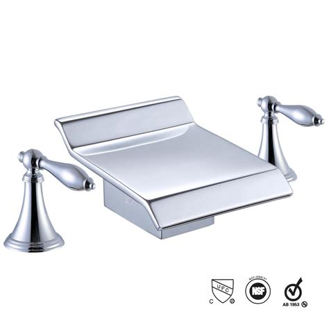 Highest Rated Kitchen Faucets by 3 Holes Widespread Bathroom Sink Roman Tub Waterfall