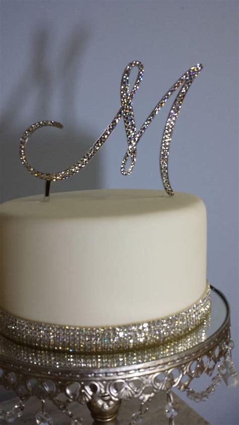 "5"" Tall Initial Monogram Wedding Cake Topper Swarovski ... M Monogram Wedding Cake Toppers"