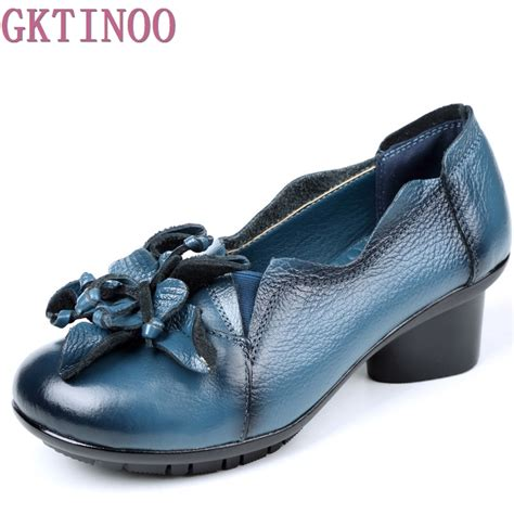 Retro Handmade Leather Shoes Buykud - 2018 retro style handmade shoes thick with heels