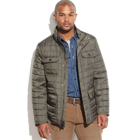 hilfiger quilted 4 pocket field jacket in green for
