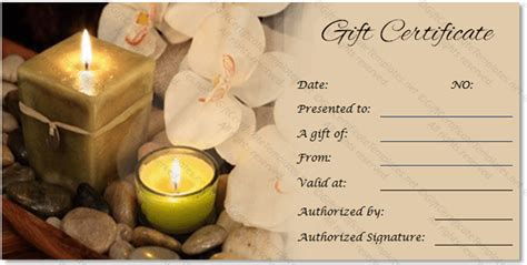 spa day gift card template spa gift certificate templates