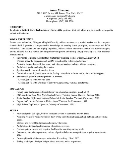 Patient Care Resume Sle dialysis technician resume in ny sales technician lewesmr