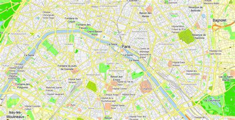 printable street map paris paris grande map france printable vector map adobe