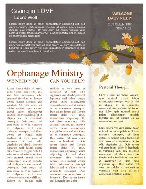 fall leaves easy church newsletter template template