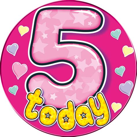 5 TODAY PINK GIANT BIRTHDAY BADGE   Flingers