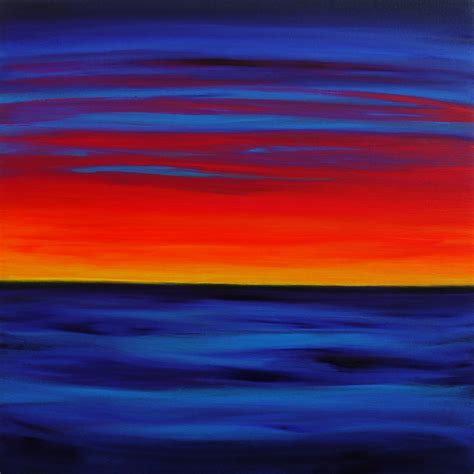 acrylic paint blending blue twilight is a abstract sunset in neon colours