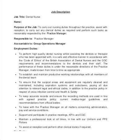 10 dentist description templates pdf doc free premium templates