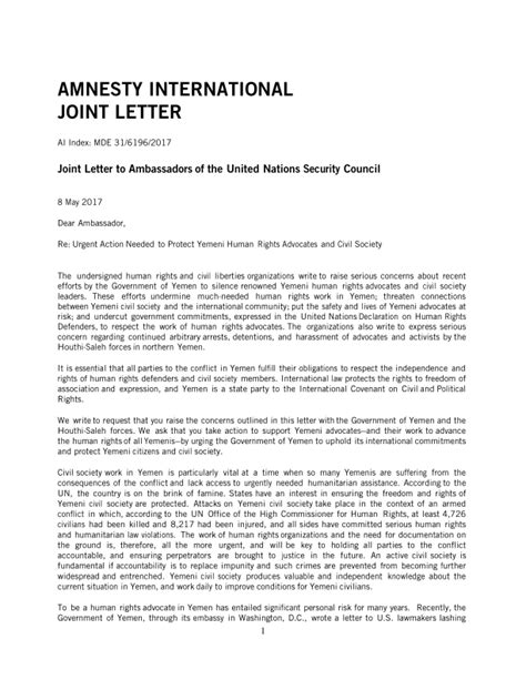 Joint Letter joint letter to ambassadors of the united nations security