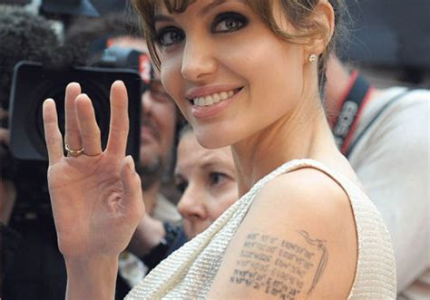 angelina jolie tattoo right forearm 25 great celebrity tattoos of female creativefan