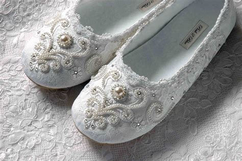 Wedding Shoes With Pearls by Newly Designed Collection Of Pearl Lace Flat Wedding