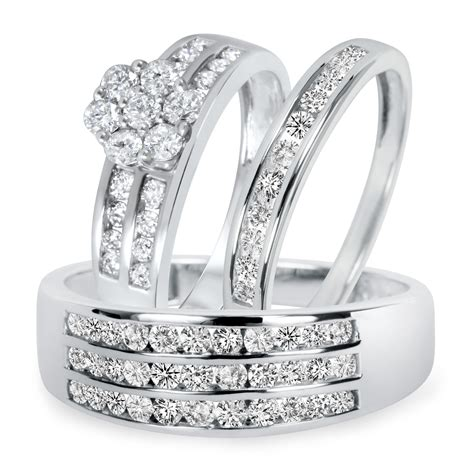 1 1 2 ct t w trio matching wedding ring set 14k