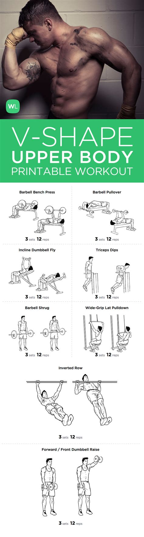 v shape printable workout plan for chest