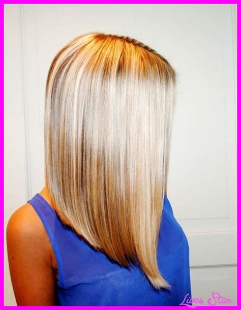 long angled bob hairstyles with back and side views and bangs long angled bob haircut back view livesstar com
