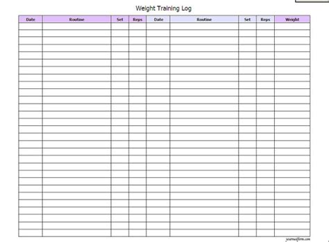 9 best images of weight lifting journal printable