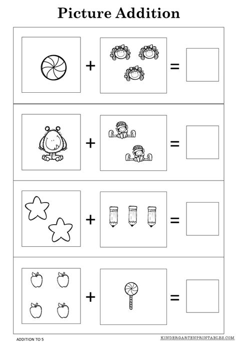 Picture Addition Worksheets by Free Picture Addition Worksheets To 5 Printables