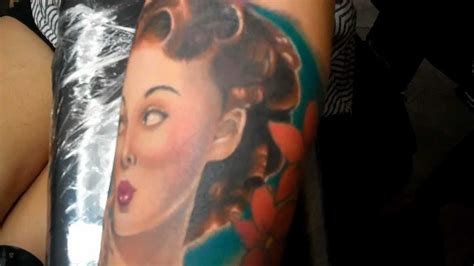 youtube rose tattoo color pin up portrait and