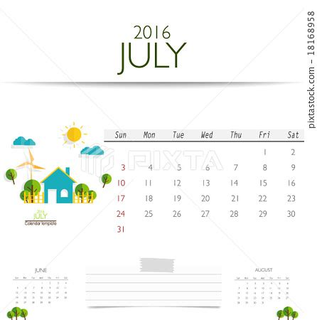 Calendar Template Monthly Vector 2016 Calendar Monthly Calendar Template For July Vector