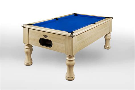 light oak traditional pool table with gold smart cloth