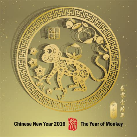 new year of monkey new year 2016 monkey design vector 01 vector