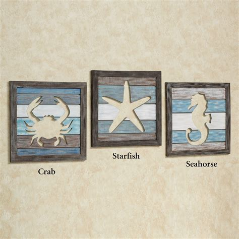 Seaside Bathroom Ideas Wall Art Designs Coastal Wall Art Sealife Cutout Slat