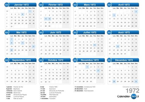 Calendrier Juin 1972 Calendrier 1972