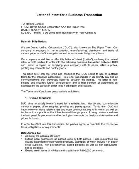 Letter Of Intent For Business Meeting letter of intent for business meeting 28 images letter of intent template free word
